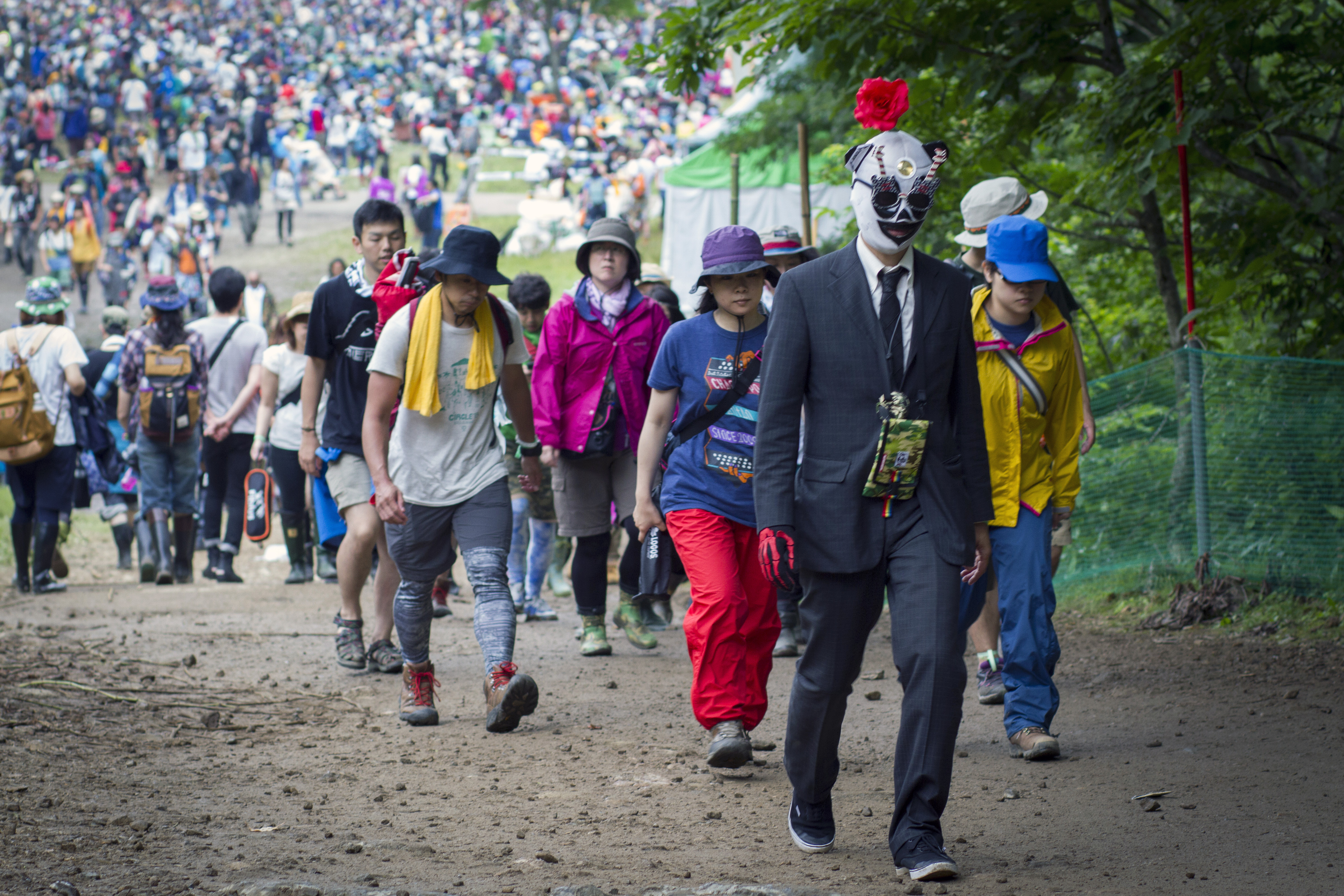 The long march: Music fans at Fuji Rock Festival commute between stages at the event