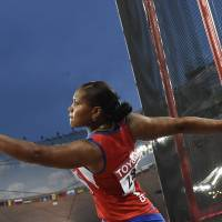 Caballero stuns field to capture women's discus title