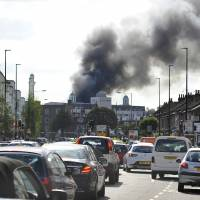 Blaze breaks out at giant London mosque