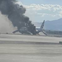 British Airways 777 engine catches fire on Las Vegas runway; two hurt