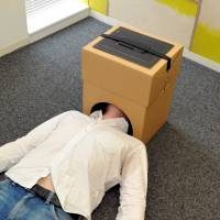 Thinking inside the box: Cardboard cubicles offer entertainment, privacy at home