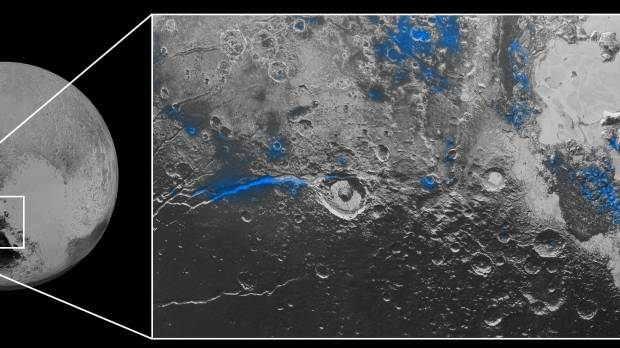 Pluto land of hazy blue skies, red ice, constant twilight, NASA probe finds