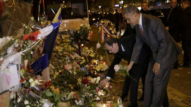 Obama's first stop in Paris is saddest of destinations
