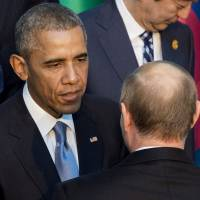 Obama, Putin break ice during six-second encounter at G-20 summit in Turkey