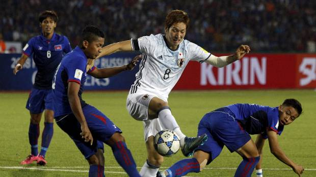 Japan labors to World Cup qualifying win over Cambodia