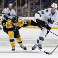 Sharks beat mistake-prone Bruins