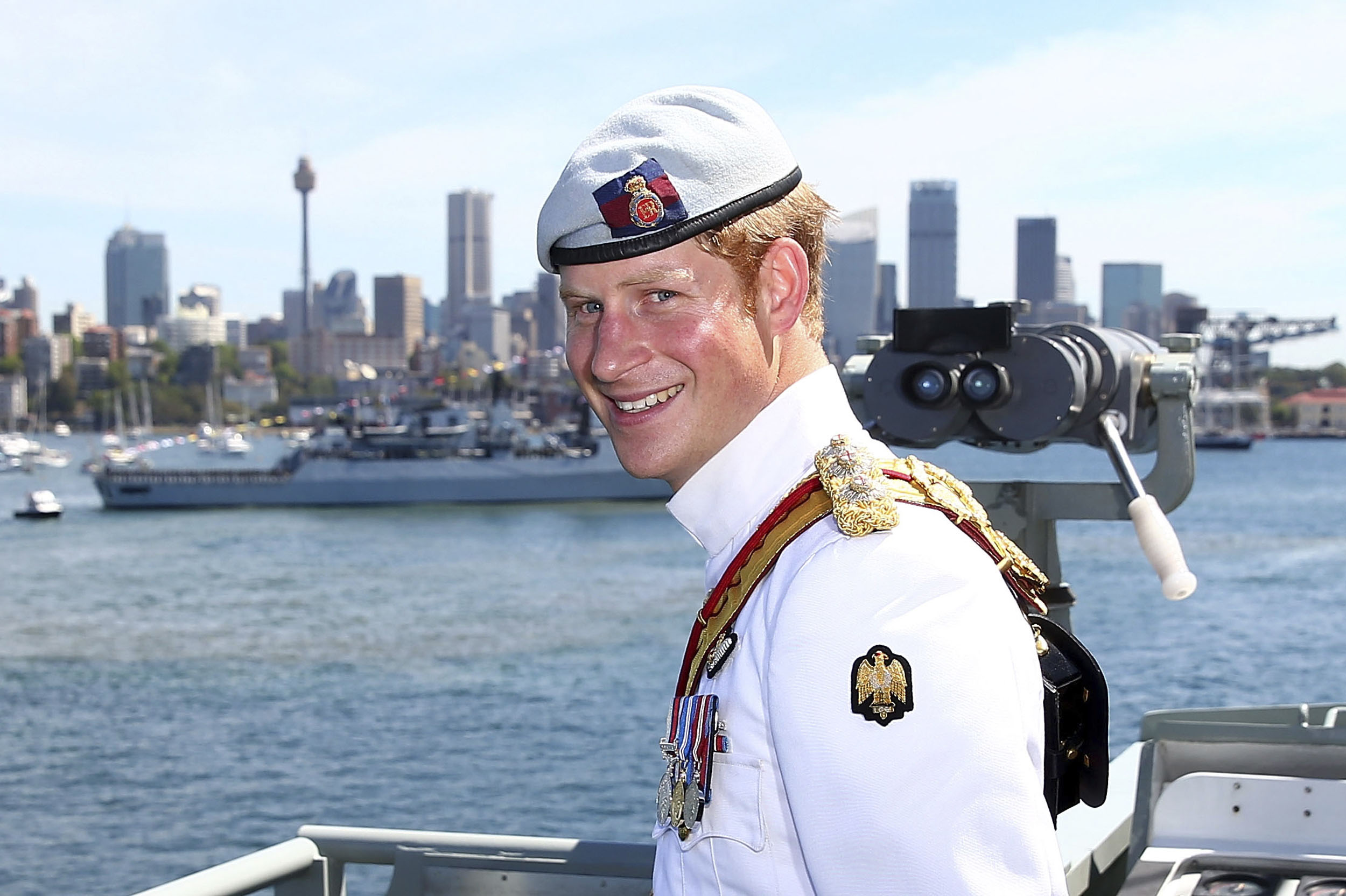 Britain's Prince Harry reviews global armada in Sydney ...