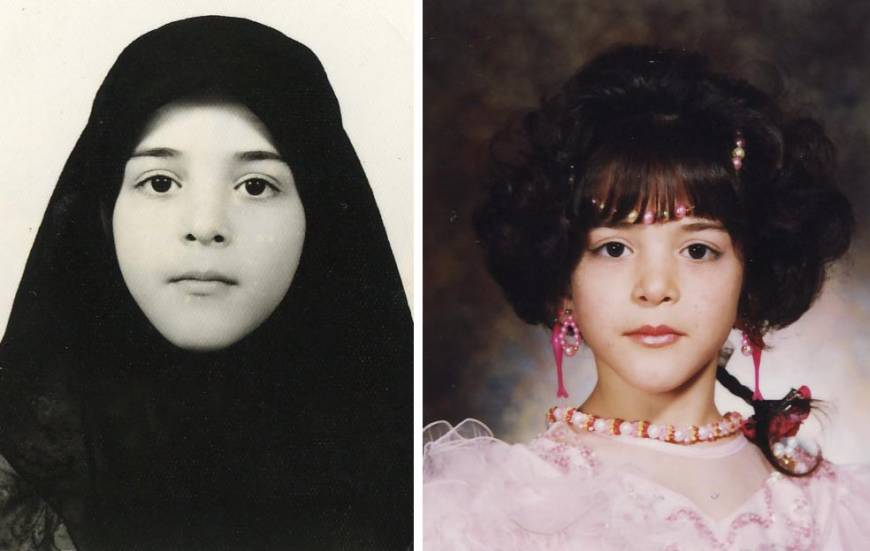 Left: Sahel during her days in the orphanage in Iran. Right: Sahel has her photo taken at a studio on the day she left the institution.