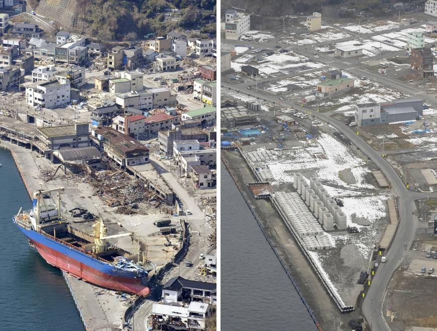 The ravaged shore of Kamaishi, Iwate Prefecture, is littered with debris and a large ship on April 10, 2011. Right: The same area, seen last month, has been cleaned up and is ready for reconstruction. Work on a new fish market is expected to begin later this year.