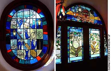 Colorful characters and animals come alive in the stained-glass windows of Ghibli Museum Mitaka.