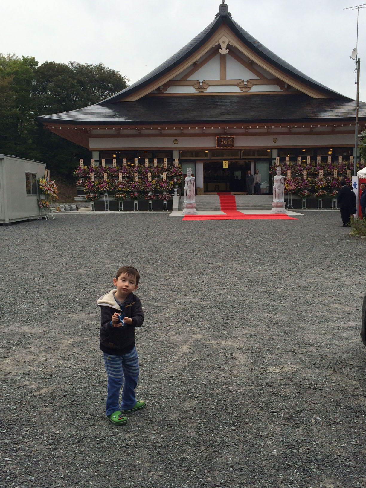 Tainted legacy: Ewan, the son of author Marie Mutsuki Mockett, stands outside Empukuji Temple in Iwaki, Fukushima Prefecture.