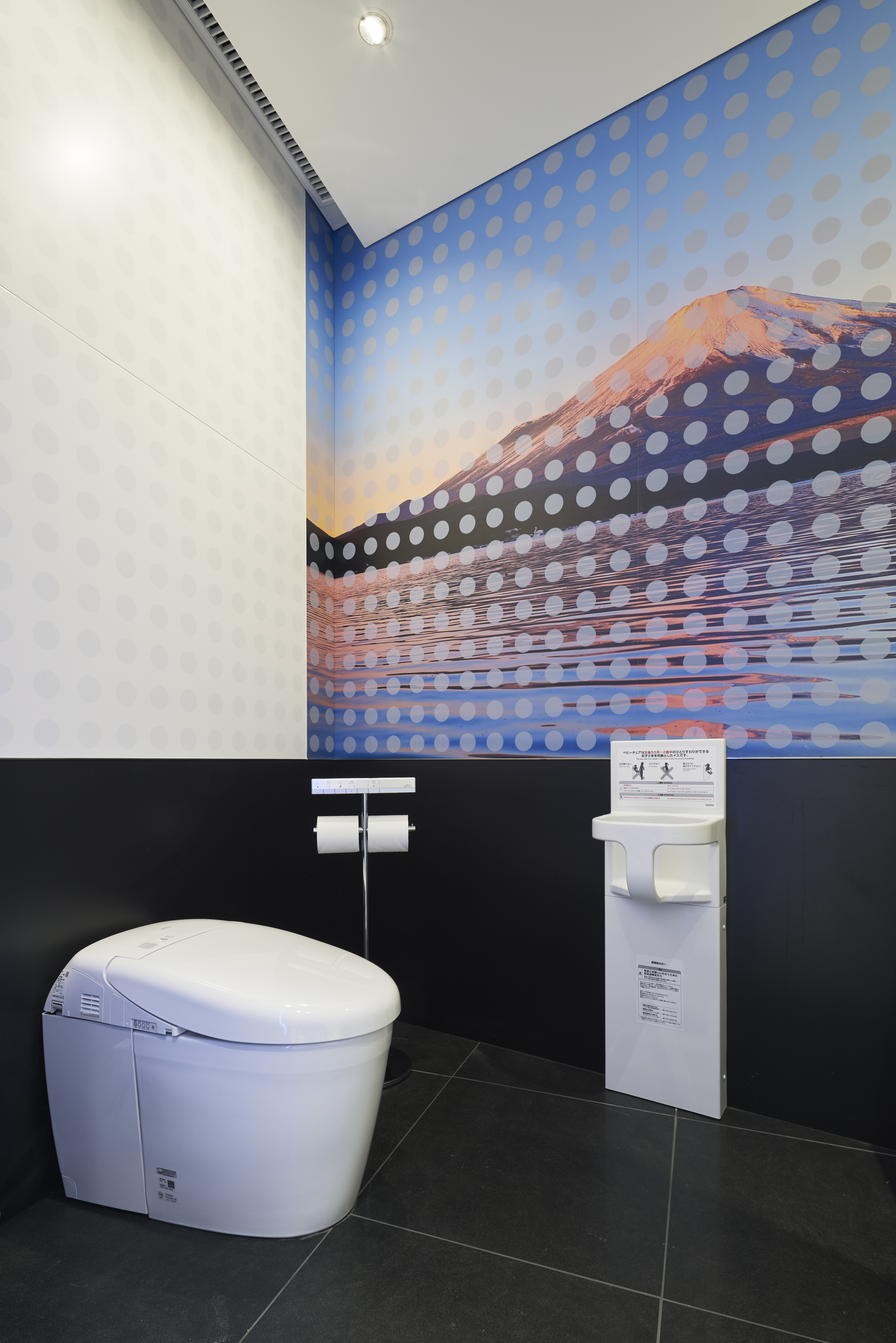 A Toilet Decked Out With A Scene Of Mount Fuji Is Among