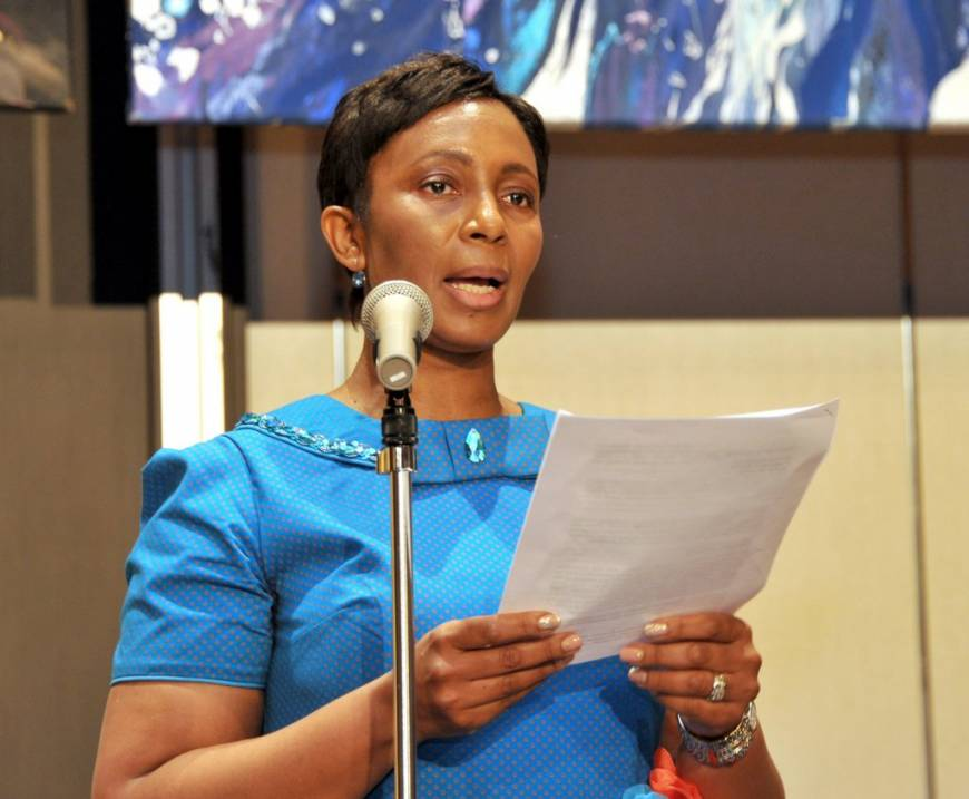 The President of the Association of Wives Of African Ambassadors in Japan (AWAAJ) Mamosa Likeleko Ramoeletsi, wife of the ambassador of Lesotho, speaks at a charity dinner, the proceeds of which are being donated to organizations dealing with the less privileged in Japan and Africa.