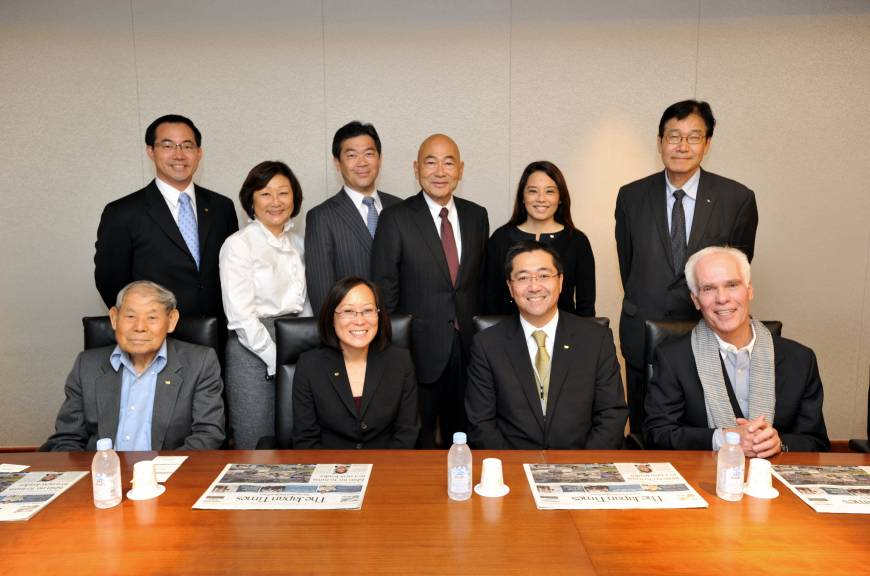 The 2015 JACCC (Japanese American Cultural and Community Center) Japan Delegation visits The Japan Times on May 20 to strengthen relationships between the U.S. and Japan: (From back left) Glenn T. Inanaga; Dolly Oishi; President of The Japan Times Takeharu Tsutsumi; Co-Chair of the Board of Governors Yoshihiro Sano; Director of Development & Marketing Helen Ota; Artistic Director Hirokazu Kosaka; (From front left) Supporter Tomio Ito; President and CEO Leslie Ito; Chair of the Board of Directors George Tanaka; and Gil Garcetti.