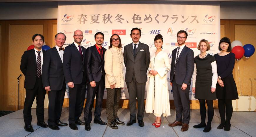 Actress Mao Daichi (fourth from right) and designer Yasumichi Morita (fifth from left) were appointed as new ambassadors of friendship for Destination France 2015 by French Ambassador to Japan Thierry Dana (sixth from left). Atout France, France's Tourism Development Agency, launched a new campaign for the Destination France 2015 in Tokyo on March 24. The tag line of the campaign ''Shunka Shuto Iromeku France'' illustrates the richness and variety of cultural and gastronomic activities, events, landscapes and discoveries in each season and in all regions of France. Partners of the campaign, from left, Kenichiro Sasaki (HIS), Philippe Sauzedde (Laurent Perrier), Frederic Meyer (Atout France), Yann Gahier (Baccarat), Jean-Eudes de La Breteche (Air France), Claire Thuaudet (French Institute of Japan) and Chihiro Seki (Galeries Lafayette).