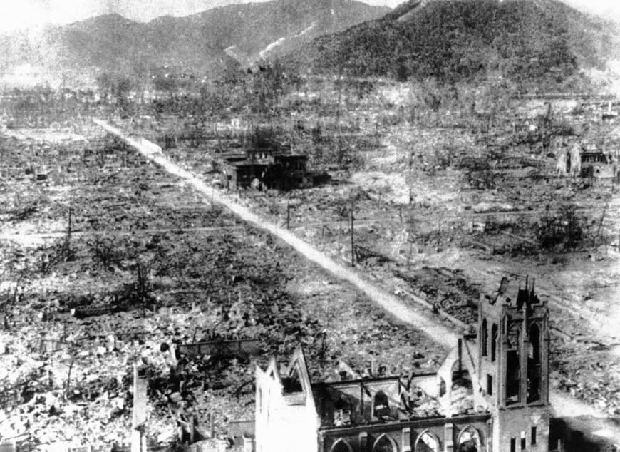 The skeleton of a Catholic Church and an unidentified building are all that remain at the blast center area on Sept. 5, 1945, after the atomic bombing of Hiroshima the month before.