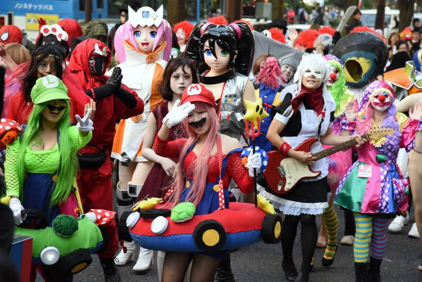 Virtual icons come to life at the Kawasaki Halloween parade on Sunday, a warm-up for the real celebration on Halloween.