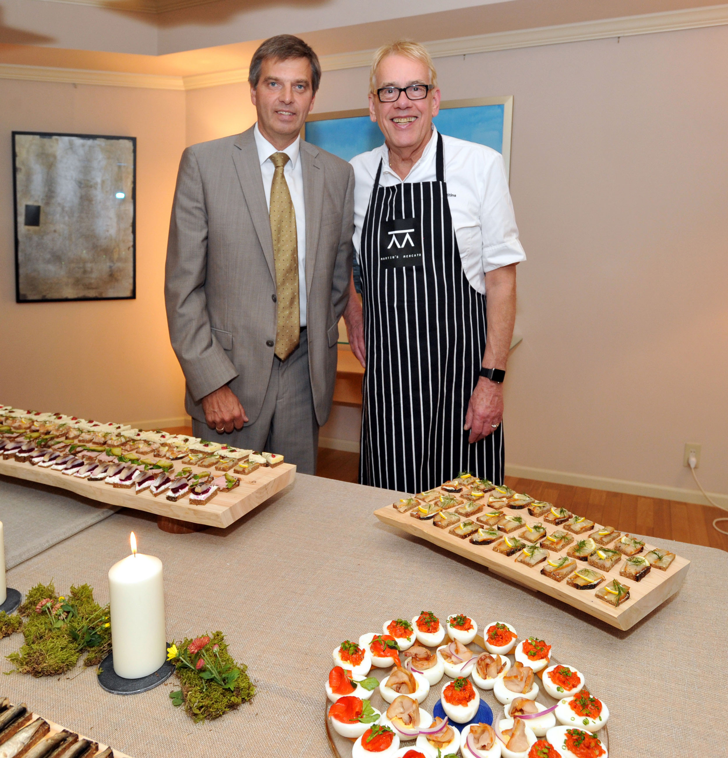 Vincents restaurant chef Martins Ritins (right) from Latvia joins Latvian Ambassador Normans Penke, at a press conference and tasting of Latvian traditional foods promoting his events in Japan next month at the embassy in Tokyo on Oct. 14. | YOSHIAKI MIURA