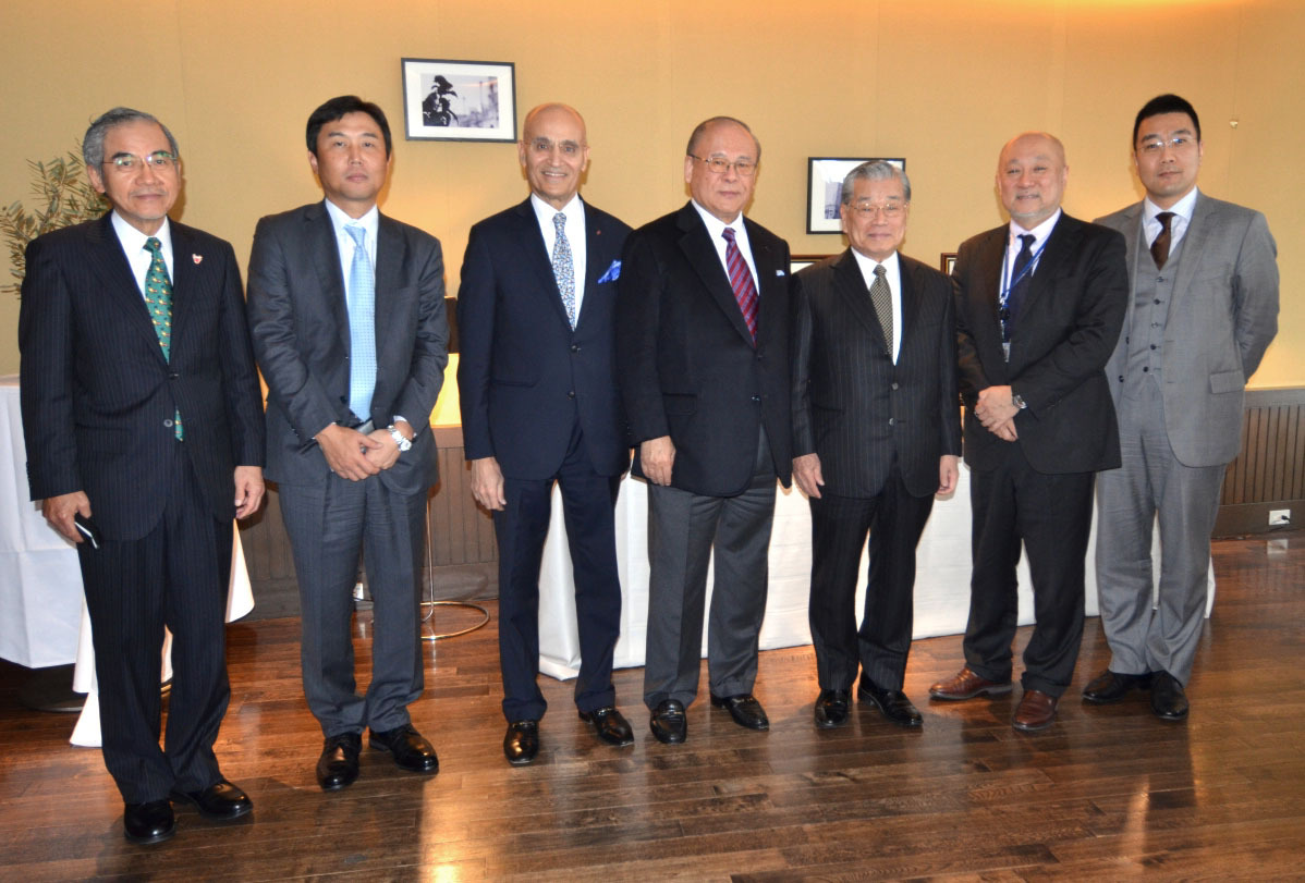 The Ambassador of the Kingdom of Bahrain Khalil Hassan (third from left) hosted a luncheon in Roppongi in Tokyo's Minato Ward on Dec.14 for (from left) Executive Representative of the Bahrain Economic Development Board, Japan Office Kazuo Imahira; Representative Director, Executive Officer and COO of SBI Pharmaceuticals Co. Satofumi Kawata; former Chairman of the Japan Bahrain Parliamentary Friendship League Tsutomu Takebe; Chairman Emeritus of JGC Corporation Yoshihiro Shigehisa; Director General of the Ministry of Foreign Affairs' Middle Eastern and African Affairs Bureau Tsukasa Uemura; and Assistant to the General Manager of IPP and IWPP No. 2 of Sumitomo Corporation Shinya Nakamura. | BAHRAIN EMBASSY