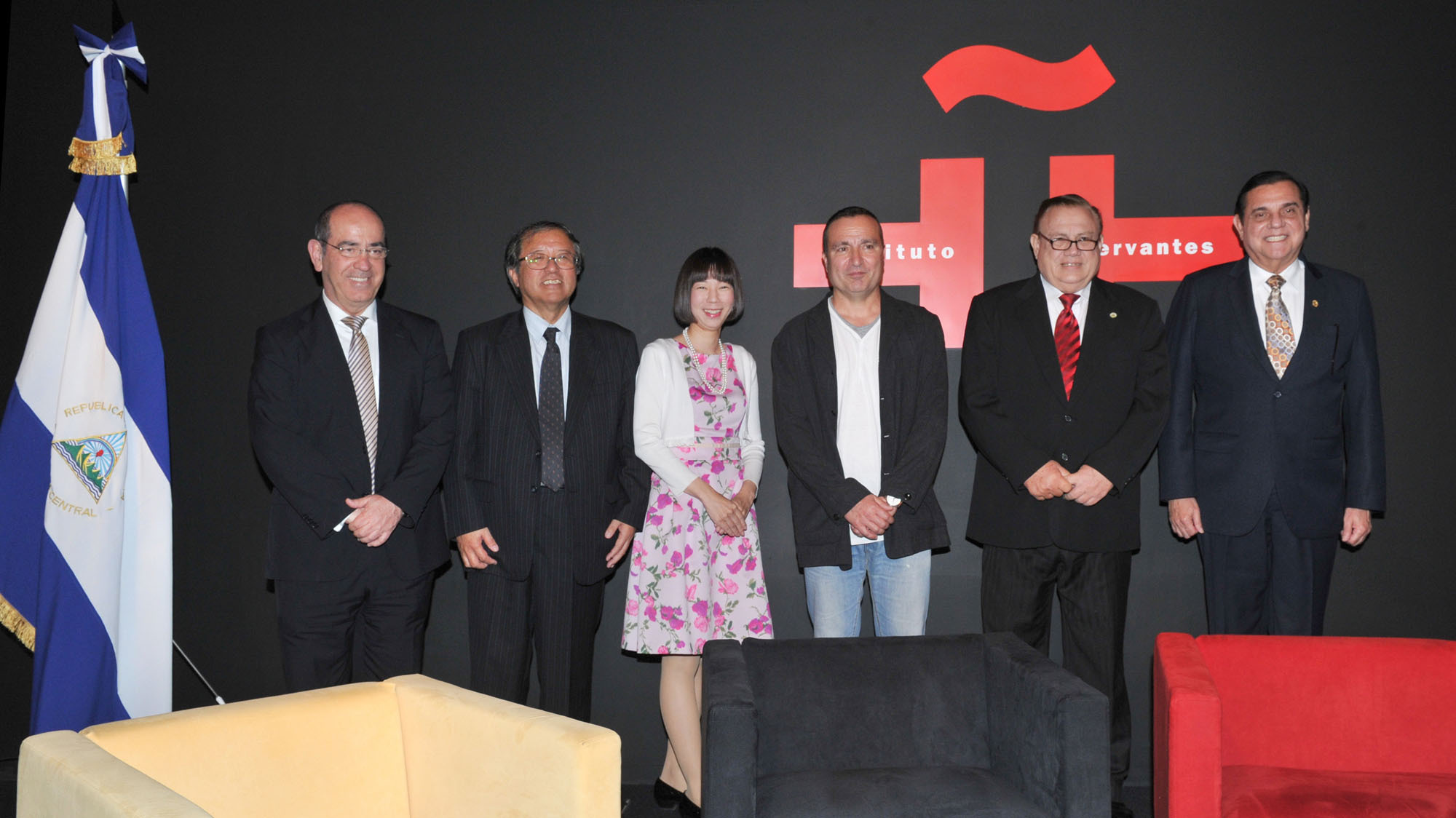 "From left: Director of Instituto Cervantes, Tokyo Antonio Gil de Carrasco; professors Norio Shimizu and Ema Nishida; Spanish poet Carlos Marzal; Nicaraguan professor Jorge Eduardo Arellano; and Nicaraguan Ambassador Saul Arana Castellon pose at the ""100th Anniversary of the death of the immortal Nicaraguan poet Ruben Dario (1867-1910)"" symposium at the Instituto Cervantes, Tokyo on May 26. 