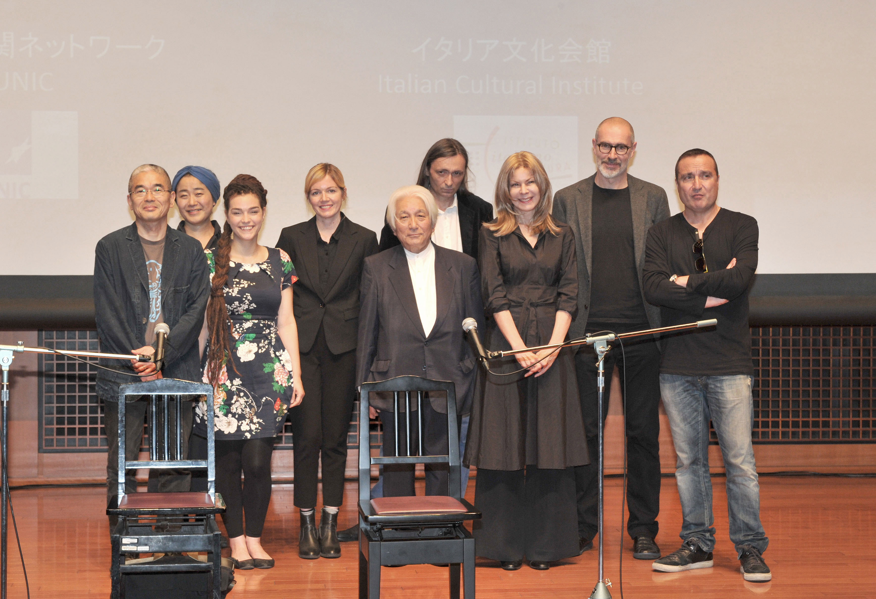 Representatives from the eight countries (Austria, Czech Republic, Germany, Ireland, Italy, Poland, Portugal and Spain) taking part in the event pose at the Italian Cultural Institute in Tokyo on May 27. The event unites an array of poets, musicians and performers for a unique poetic and multimedia journey bridging borders, languages, eras and styles. | YOSHIAKI MIURA  MACIEJ KOMOROWSKI / IPTOKIO