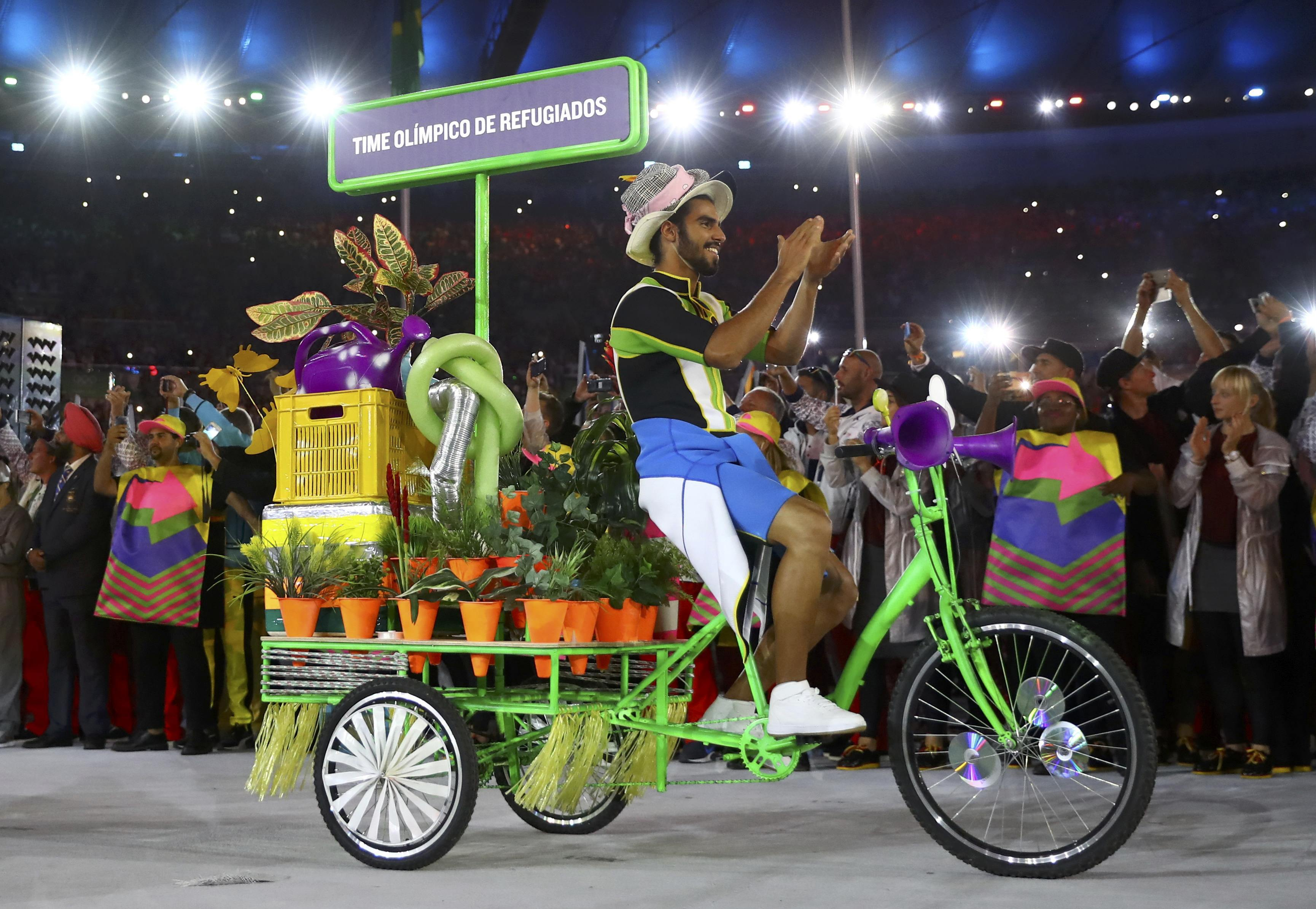 The refugee athletes' team arrives for the Opening Ceremony of the Rio de Janeiro Summer Olympics on Friday night.   | REUTERS