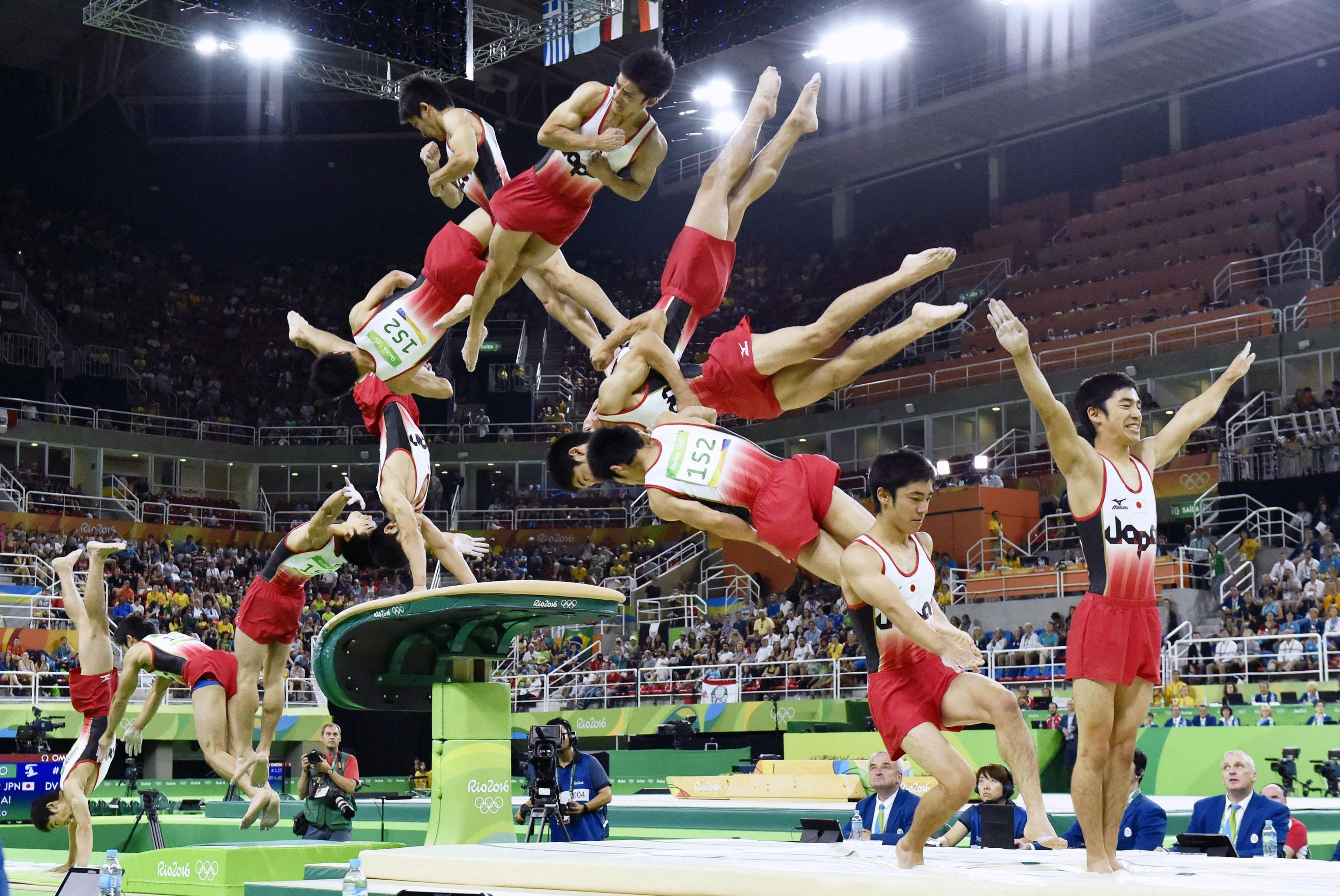 This montage photo shows the performance of Kenzo Shirai in the men's vault event final on Monday at the 2016 Rio Olympic Games. | KYODO