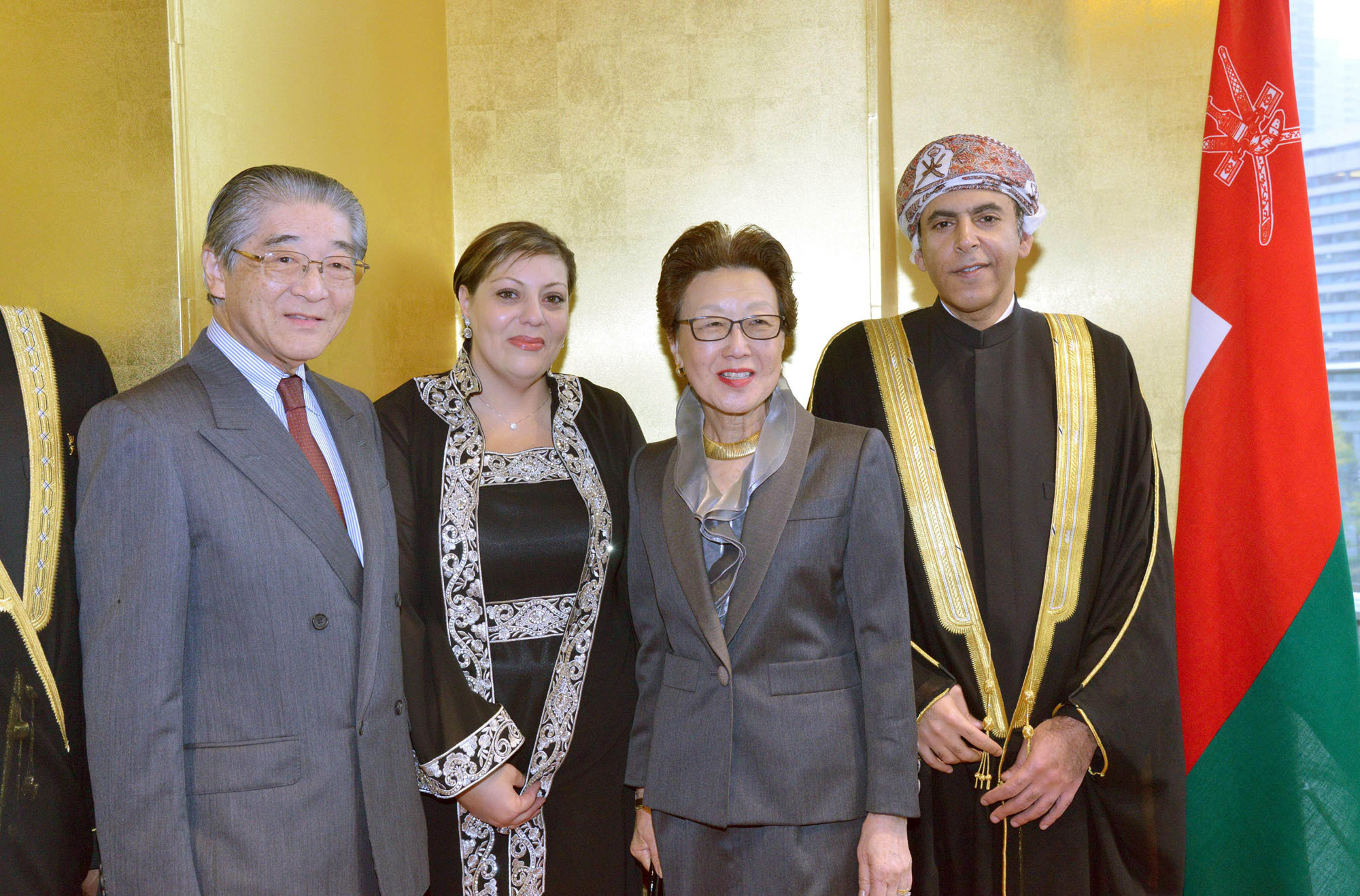 Oman's Ambassador Khalid Al-Muslahi (right) and his wife Abeer A. Aisha (second from left) welcome Hisanaga Shimazu (left) and his wife Takako (the fifth and youngest daughter of Emperor Showa) during a reception to celebrate Oman's 46th national day at the Palace Hotel, Tokyo on Nov. 24. |  OMAN EMBASSY