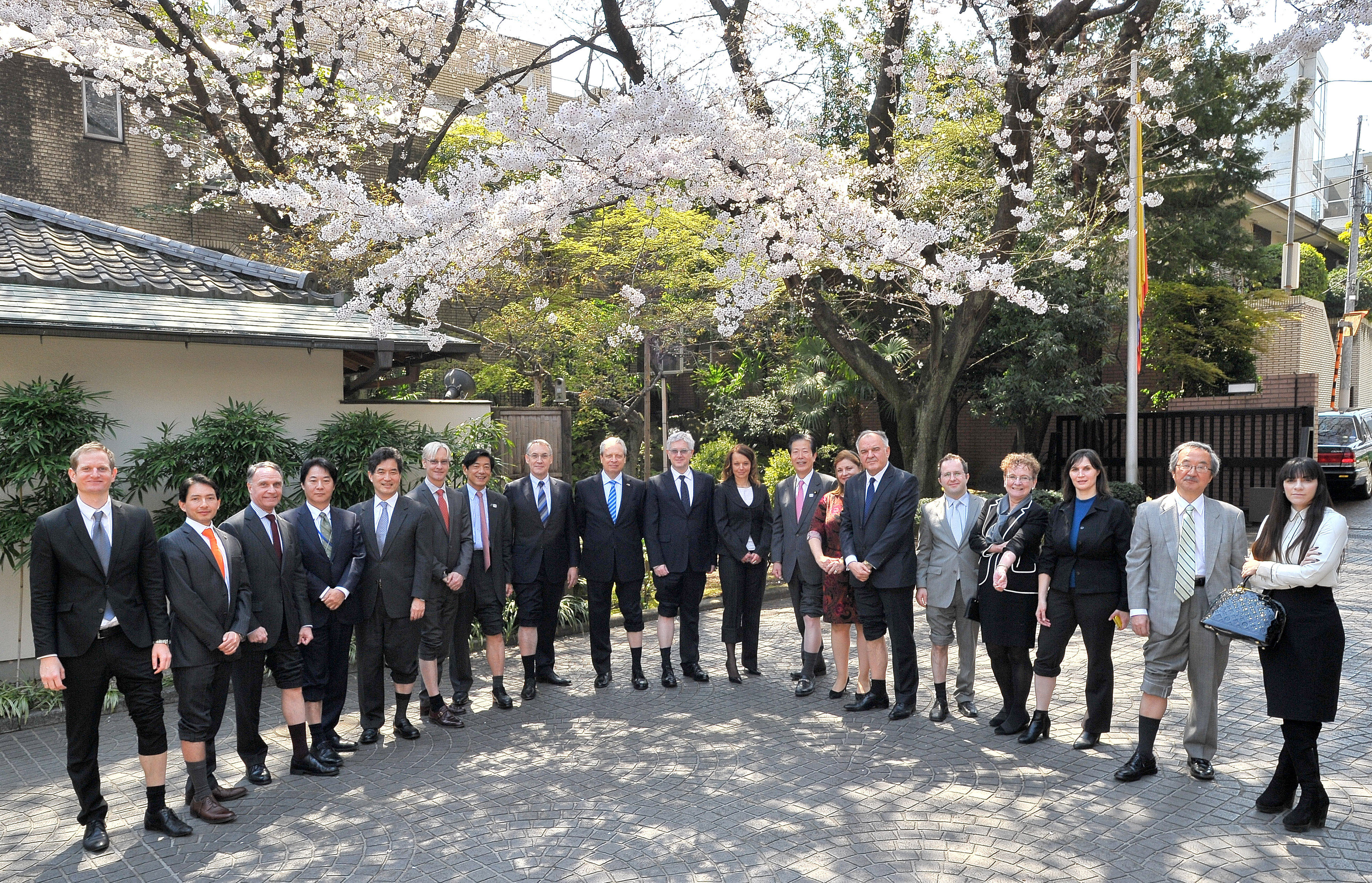 Ambassadors, diplomats, ministry staff and members of the parliamentary friendship groups show their support at the Colombian embassy in Tokyo on April 4. |  YOSHIAKI MIURA