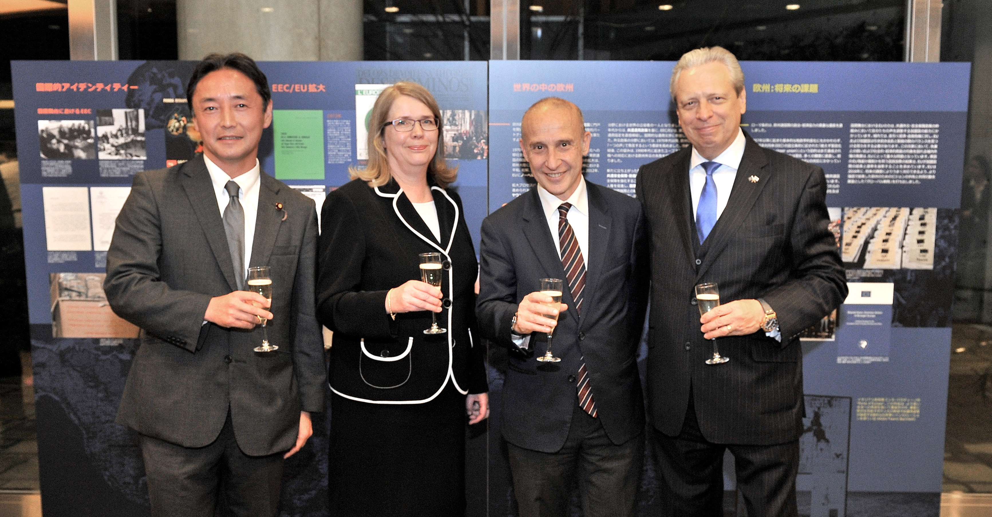 European Union Ambassador Viorel Isticioaia-Budura (right) poses with (from left) House of Representatives member and Secretary-General of the Japan-EU Parliamentary Friendship League Masazumi Gotoda,  Finland's Under Secretary of State for Foreign Affairs Anne Sipilainen and Italy's Ambassador- designate Giorgio Starace at a reception marking the 60th anniversary of the signing of the Treaties of Rome at the Europa House in Tokyo on March 27. |  YOSHIAKI MIURA