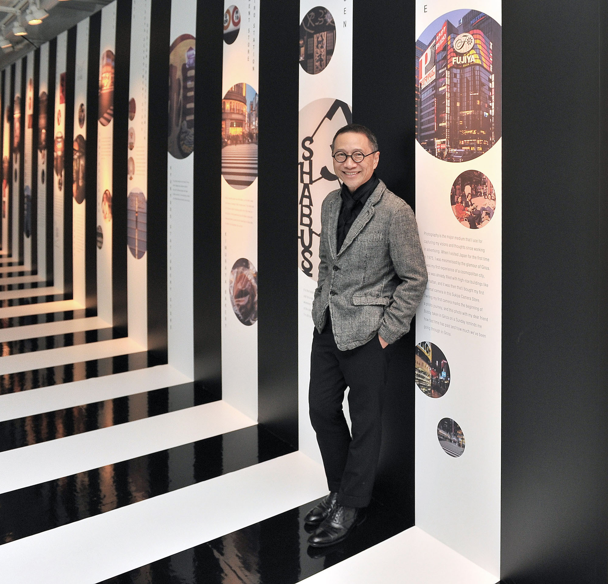 "Ginza days: Hong Kong artist Alan Chan attends a preview of his exhibition ""Hello Ginza!'' at Pola Museum Annex in Ginza, Tokyo, on April 27. The exhibition runs through June 4. 
