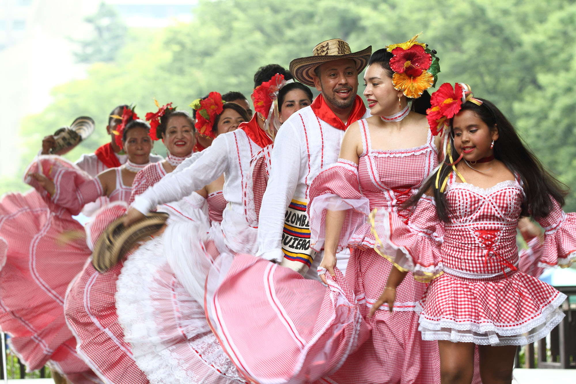 Colombian dance group Agrupacion Shizuoka perform during celebrations marking the 207th anniversary of Independence Day at an event titled Fiesta de Colombia in Hibiya Park on July 16. |  COURTESY OF THE COLOMBIAN EMBASSY