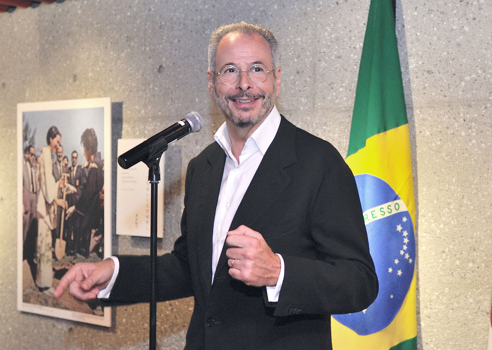 "Brazilian Ambassador Andre Aranha Correa do Lago speaks at the opening of an exhibition titled ""Strengthening Eternal Bonds: 50 Years of the First Visit to Brazil of Their Majesties the Emperor and Empress of Japan"" at the Brazilian Embassy on Sept. 7. The exhibition runs through Oct. 6. 
