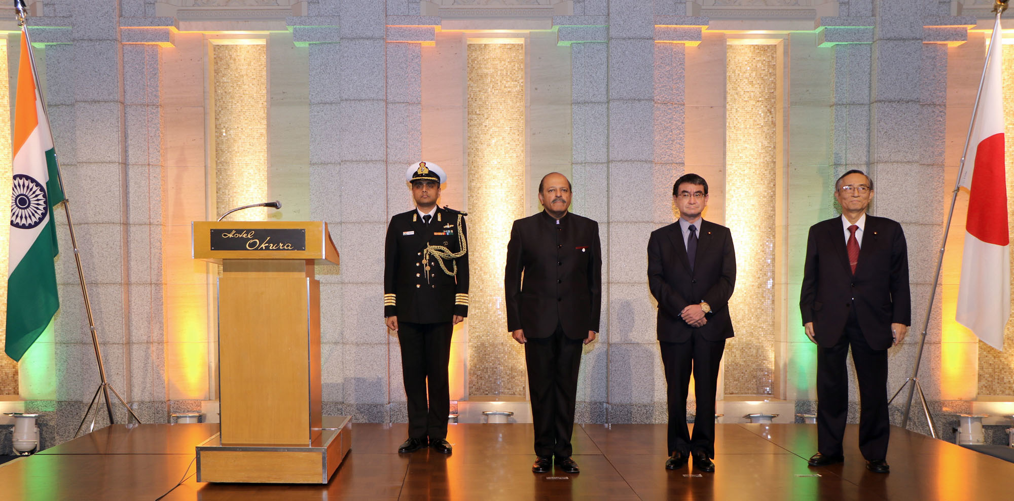 Indian Ambassador Sujan R. Chinoy (second from left) poses with Foreign Minister Taro Kono (center) and Hiroyuki Hosoda, chairman of the Japan-India Parliamentary Friendship League, at a reception at Hotel Okura Tokyo on Jan. 25 to mark the Republic Day of India. |   COURTESY OF THE INDIAN EMBASSY